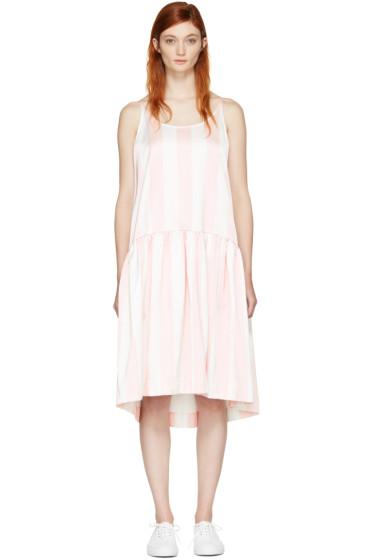 Edit - Pink & White Curved Peplum Dress