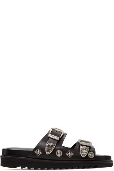 Toga Virilis - Black Two Strap Sandals