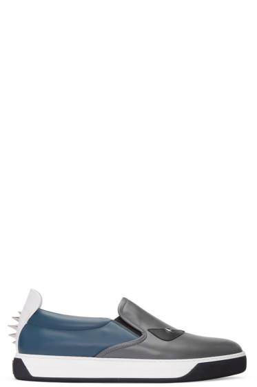 Fendi - Grey 'Bag Bug' Slip-On Sneakers
