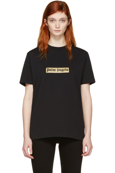 Palm Angels - Black Glitter Logo T-Shirt