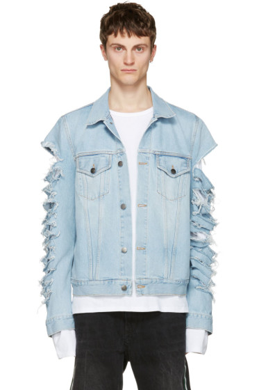 Palm Angels - Blue Ripped Denim Jacket
