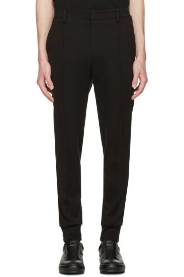 Wooyoungmi - Black Jersey Cuffed Trousers