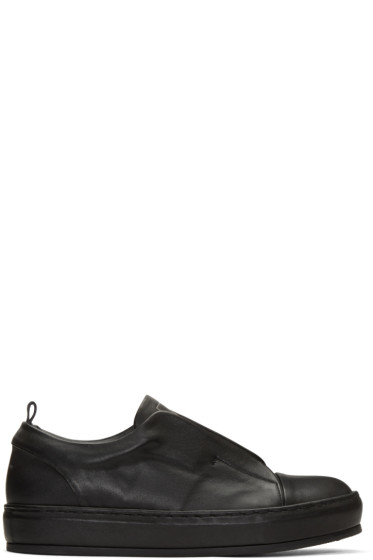 Wooyoungmi - Black Leather Slip-On Sneakers