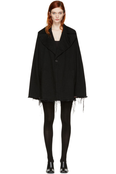 Marques Almeida - Black Denim Big Lapel Coat