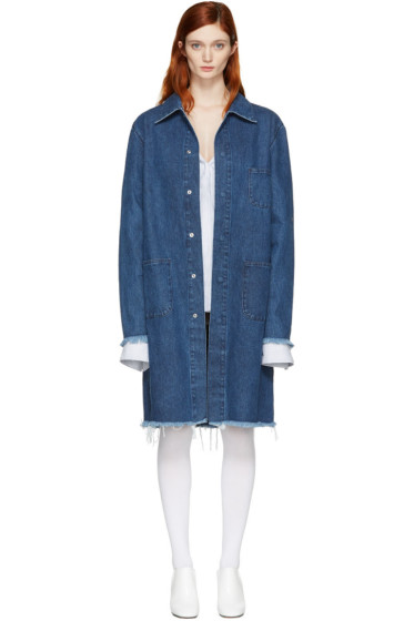 Marques Almeida - Blue Denim Mackintosh Coat