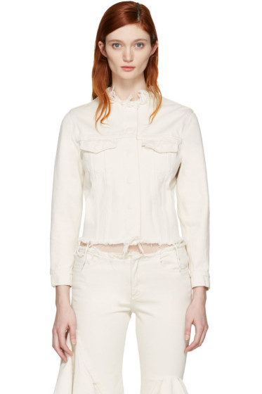 Marques Almeida - Off-White Denim Collarless Jacket
