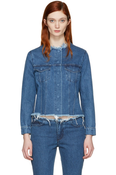 Marques Almeida - Blue Denim Collarless Jacket