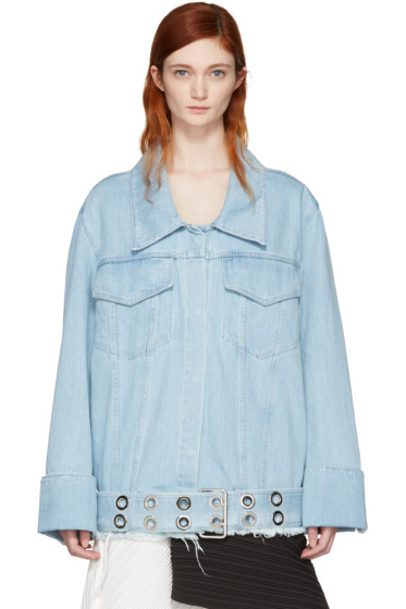 Marques Almeida - Blue Denim Oversized Belted Jacket
