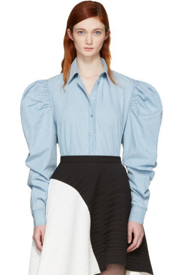 Marques Almeida - Blue Puff Sleeve Shirt