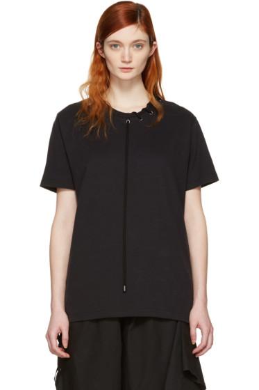 Craig Green - Black Lace-Up Collar T-Shirt