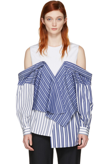 Enfold - White & Navy Reconstructed Shirting Blouse