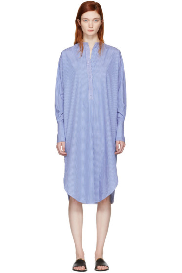 Ports 1961 - Blue Striped Poplin Dress