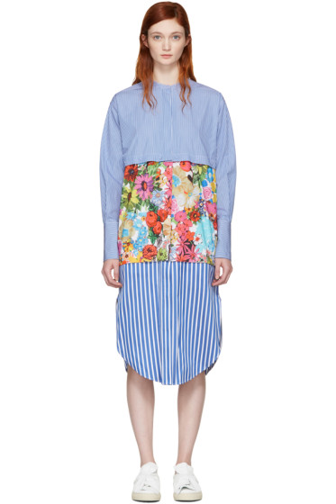 Ports 1961 - Blue Striped & Floral Shirt Dress