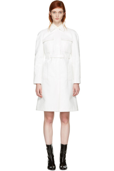 Courrèges - Off-White Vinyl Belted Trench Coat