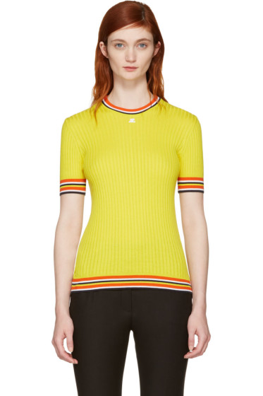 Courrèges - Yellow Ribbed Short Sleeve Pullover