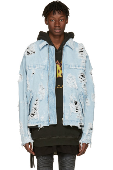 Unravel - Blue Distressed Denim Zip Jacket