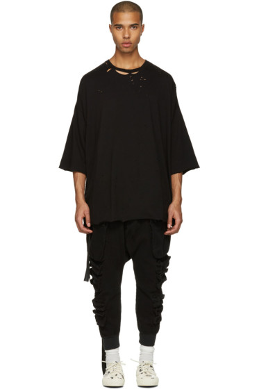 Unravel - Black Distressed Boxy T-Shirt