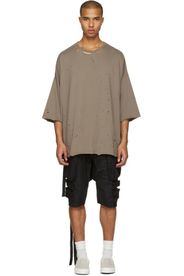 Unravel - Taupe Distressed Boxy T-Shirt