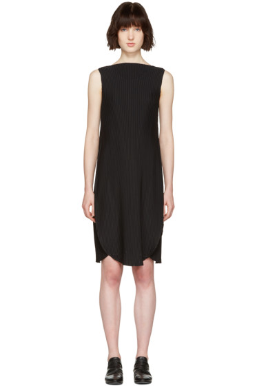 Issey Miyake - Black Pleated A-Line Dress