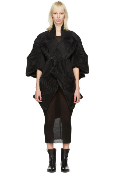Issey Miyake - Black Lattice Cross Over Cardigan