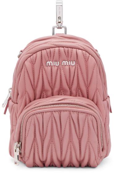 Miu Miu - Pink Mini Matelassé Backpack