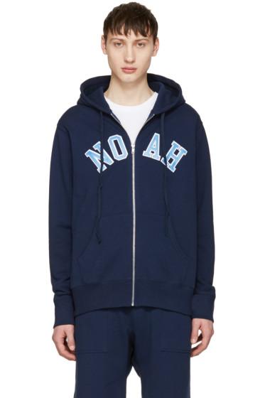 Noah NYC - Navy Logo Zip Hoodie