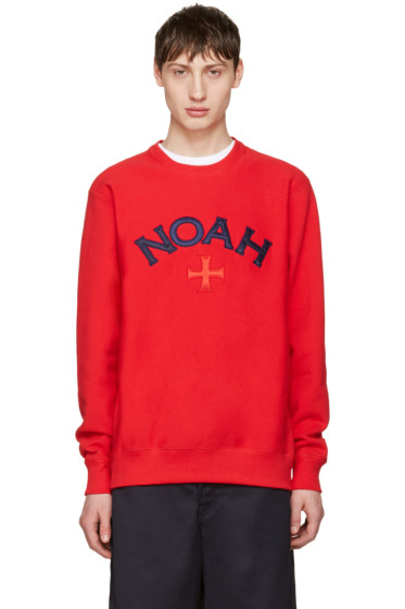 Noah NYC - Red Varsity Logo Sweatshirt
