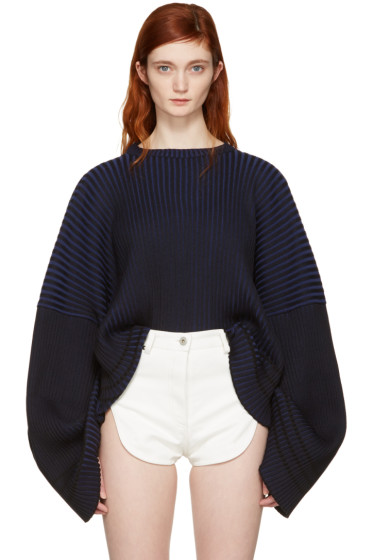 Y/Project - Blue Oversized Crew Pullover