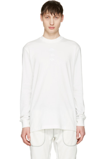 adidas Originals by Alexander Wang - White Long Sleeve Logo T-Shirt