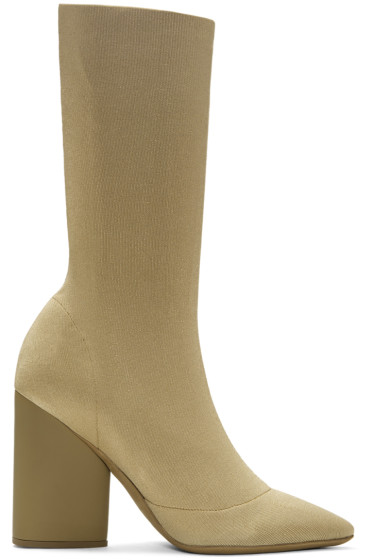 YEEZY - Beige Knit Ankle Boots