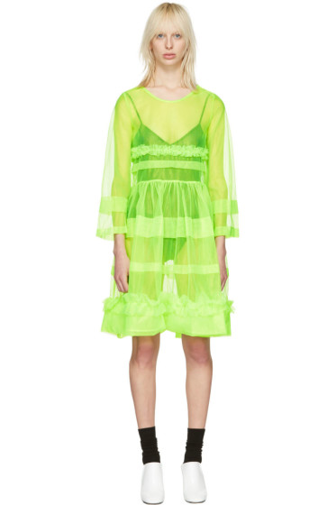 Molly Goddard - Green Pleated Patty Dress