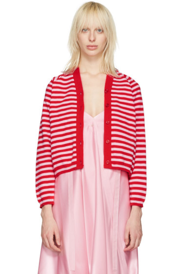 Molly Goddard - Pink & Red Stripe Charlie Cardigan