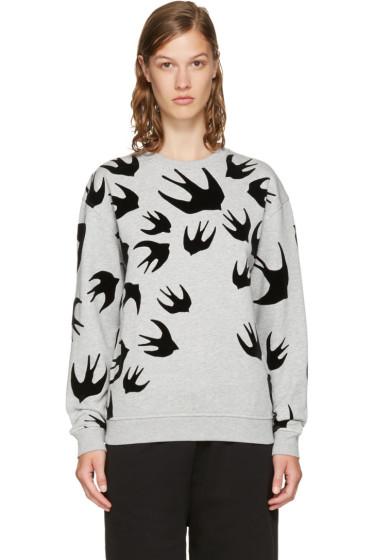 McQ Alexander McQueen - Grey & Black Swallows Sweatshirt