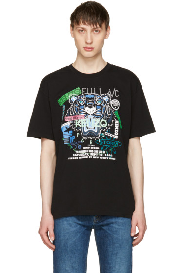 Kenzo - Black 'Tiger x Flyer' T-Shirt