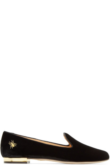 Charlotte Olympia - Black Velvet Nocturnal Loafers