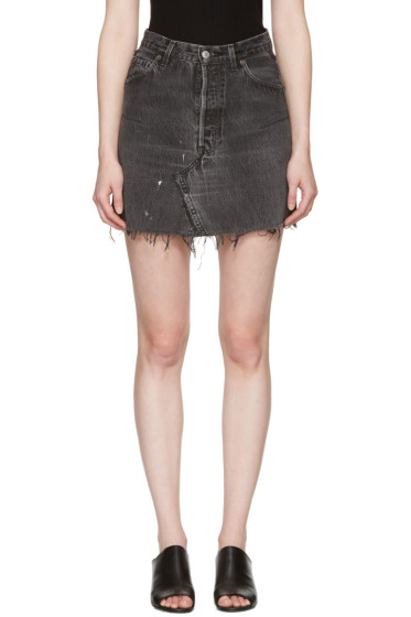 Re/Done - Black Denim High-Rise Miniskirt