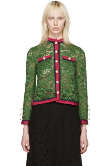 Gucci - Green Lace Ribbon Jacket
