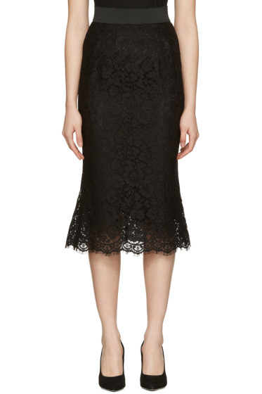 Dolce & Gabbana - Black Macrame Pencil Skirt