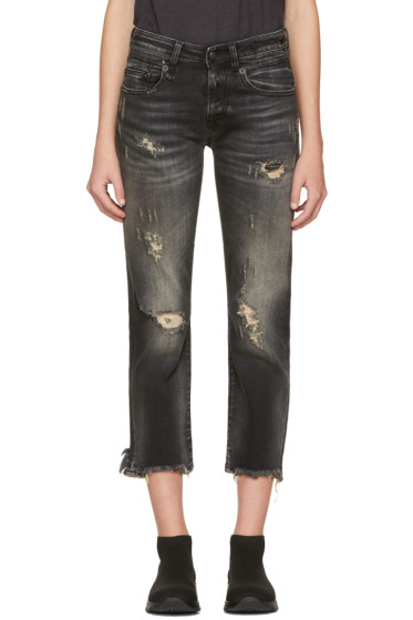 R13 - Black Shredded Straight Boy Jeans