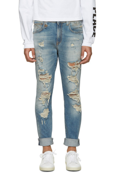 R13 -  Blue Distressed Skate Jeans