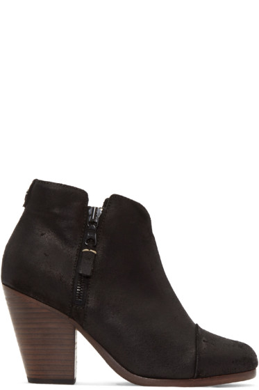 Rag & Bone - Black Suede Classic Margot Boots