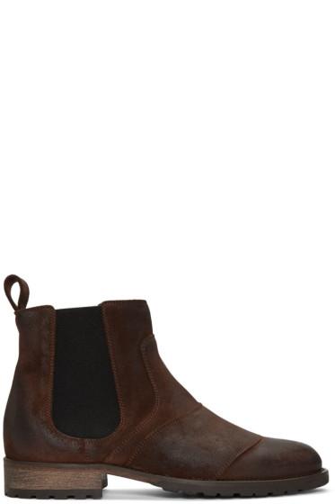 Belstaff - Brown Burnished Suede Lancaster Chelsea Boots