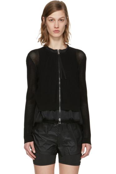 Moncler - ブラック ダブル レイヤー ジップ セーター