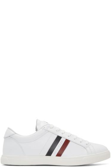 Moncler - White Monaco Stripe Sneakers