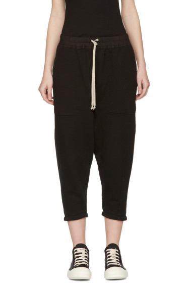 Rick Owens Drkshdw - Black Drawstring Cropped Lounge Pants