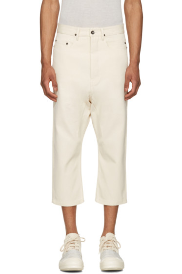 Rick Owens Drkshdw - Ecru Cropped Astaire Jeans
