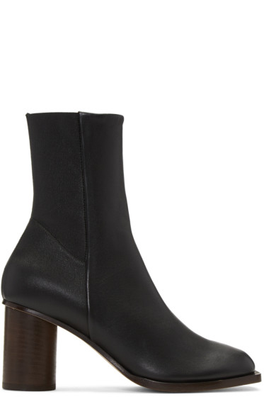 Helmut Lang - Black Stretch Nappa Square Toe Boots