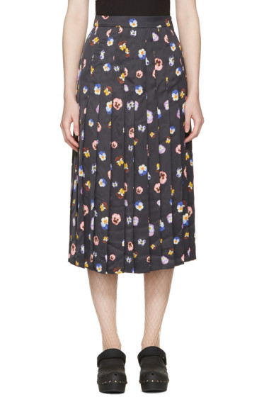 Christopher Kane - Black Ditsy Pleated Skirt