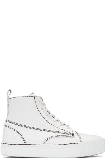 Alexander Wang - White Leather Perry High-Top Sneakers