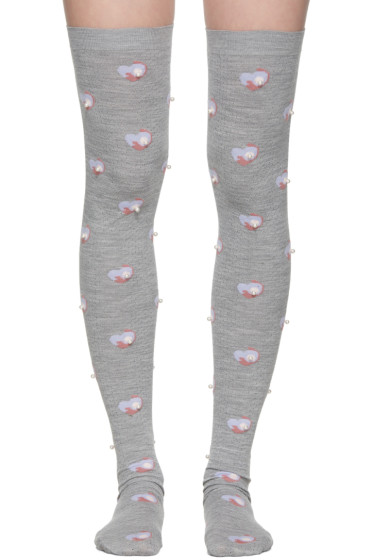 Marc Jacobs - Grey Pearl Thigh-High Socks